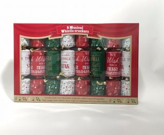 Christmas Cracker 8 Pack - Musical Whistle - Game Crackers