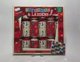 Christmas Cracker 8 Pack - Stockings & Ladders - Family Game Crackers