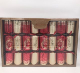 Christmas Cracker Extra Large Premium 8 Pack - Red & Gold - Vintage Tree and Wreath - Merry Christmas
