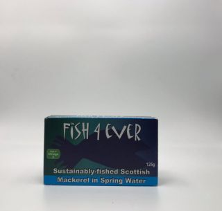 Fish 4 Ever Sustainably-fished Scottish Mackerel in Spring Water 125g
