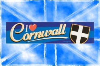 I Love Cornwall Car Bumper Sticker L20cm x H5cm