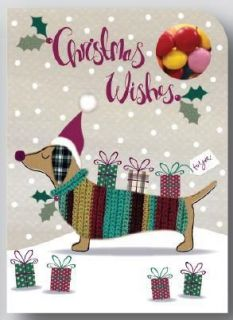 Sweeting Cards - Christmas Wishes - Dog - Milk Chocolate Beans 75g