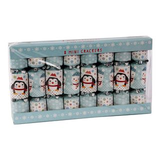 8 Mini Christmas Cracker -Blue & White - Snowman & Penguin
