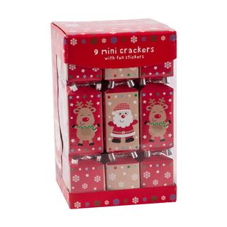 9 Mini Squared Christmas Cracker - Red & Brown - Santa & Rudolph