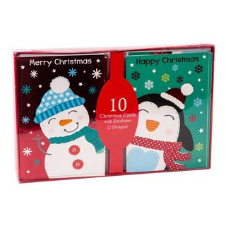 Christmas Cards - 10 Cards with Envelopes - Snowman and Penguin