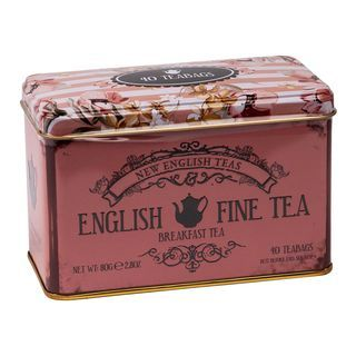 New English Teas - English Breakfast Tea 40 Tea Bags - English Fine Tea Vintage Tin