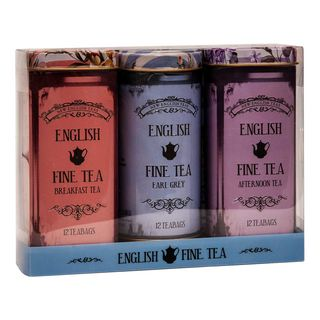 New English Teas - English Tea Selection - English Fine Tea Vintage Tins - 3 x 12 Teabags