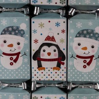 9 Mini Squared Christmas Cracker - Blue & White - Snowman & Penguin