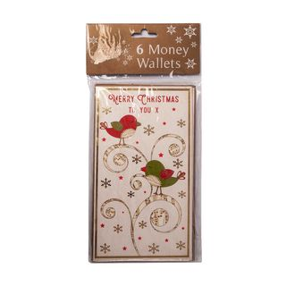 Christmas Cards - 6 Money Wallet Cards - Robin