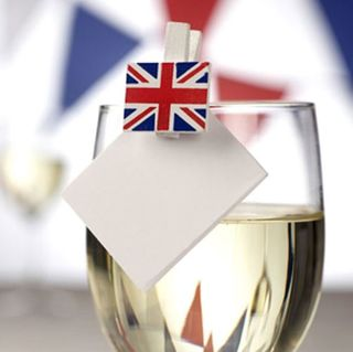 Union Jack Flag - Wooden Glass Decoration - 20stk