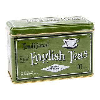 New English Teas - English Afternoon Tea 40 Tea Bags - Green Traditional Vintage Tin