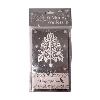 Christmas Cards - 6 Money Wallet Cards - Silver - Merry Christmas - Tree