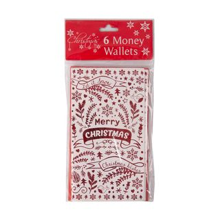 Christmas Cards - 6 Money Wallet Cards - Red - Merry Christmas