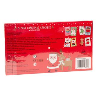 8 Mini Christmas Cracker - Red & White - Santa & Rudolph - with Fun Stickers