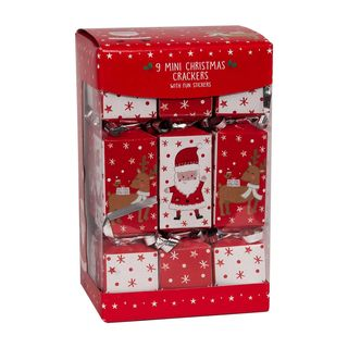9 Mini Squared Christmas Cracker - Red & Brown - Santa & Rudolph - with Fun Stickers