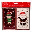 Christmas Cards - 4 Money Wallet Cards - Elf & Santa