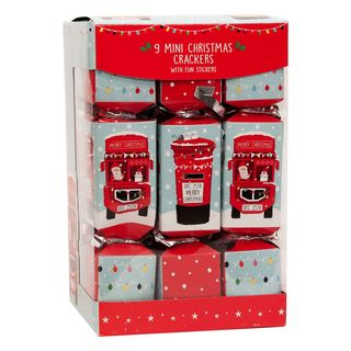 9 Mini Squared Christmas Cracker - Bus & Postbox - with Fun Sticker