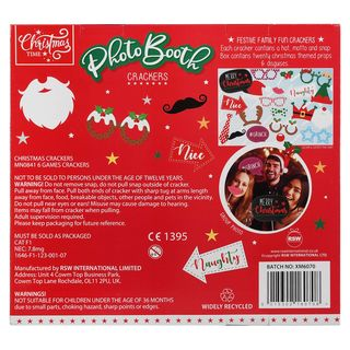 Christmas Cracker 6 Pack - Christmas Photo Booth - Family Game Crackers